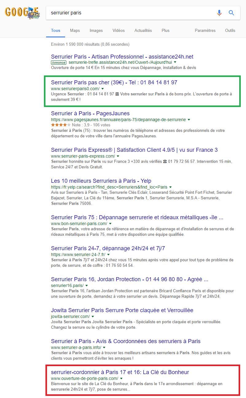 résultats de recherche première page de Google